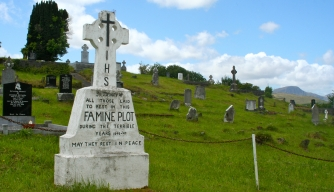 Irish famine plot in Kenmare, County Cork.