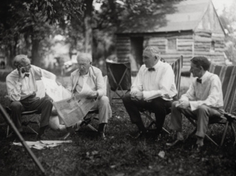 Ford, Edison, President Warren Harding and Firestone, 1921.