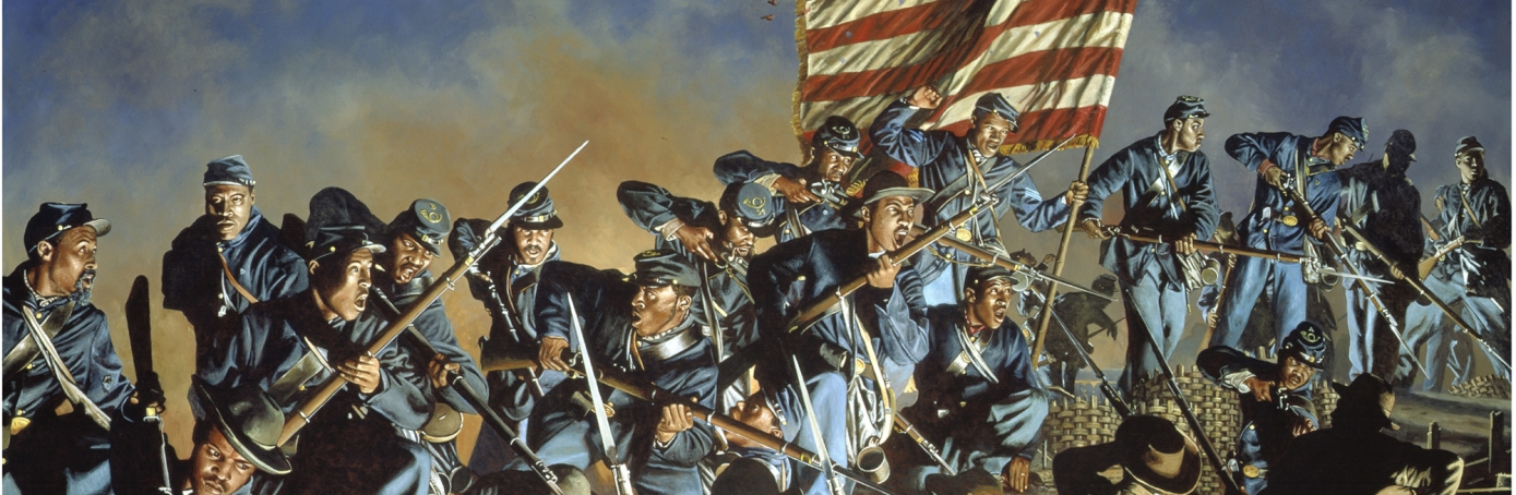 Painting depicting the Second Battle of Fort Wagner.