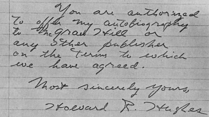 A sample of Clifford Irving's forged correspondence with Howard Hughes. (Credit: National Postal Museum/Smithsonian Institute)
