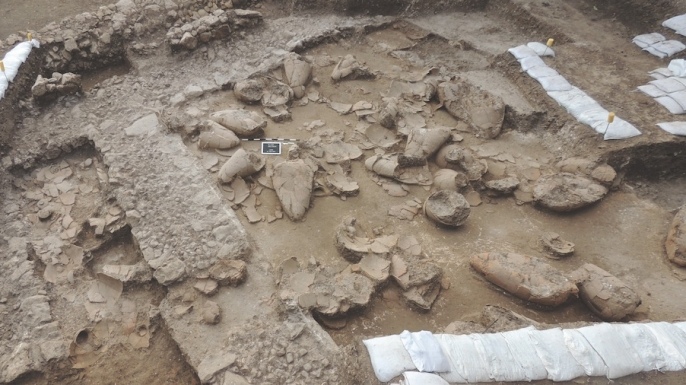Excavated wine cellar at Tel Kabri site.