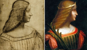 Leonardo da Vinci's sketch of Isabella d'Este (left) and the recently found painting (right), purportedly by da Vinci as well.