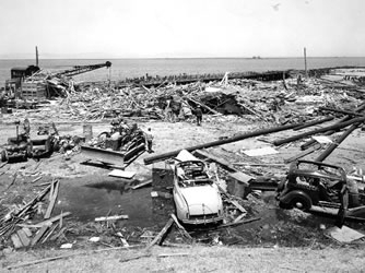 Damage at Port Chicago, looking north toward pier