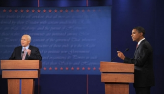 Barack Obama and John McCain take part in the first debate of the 2008 presidential election.