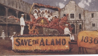 "A 1907 postcard rallying Texans to ""Save the Alamo."""
