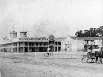 Hugo & Schmeltzer building and chapel at Alamo.
