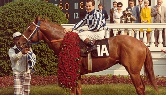 Secretariat after winning the 1973 Kentucky Derby.