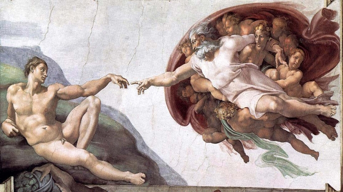 "The Sistine Chapel ceiling's most famous panel, entitled ""The Creation of Adam."""