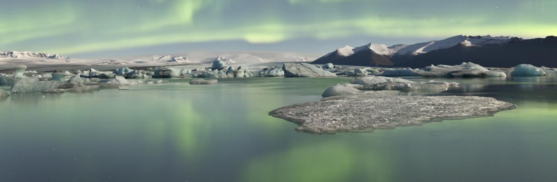 Aurora Borealis over Jökulsárlón Iceberg Lagoon, iceland