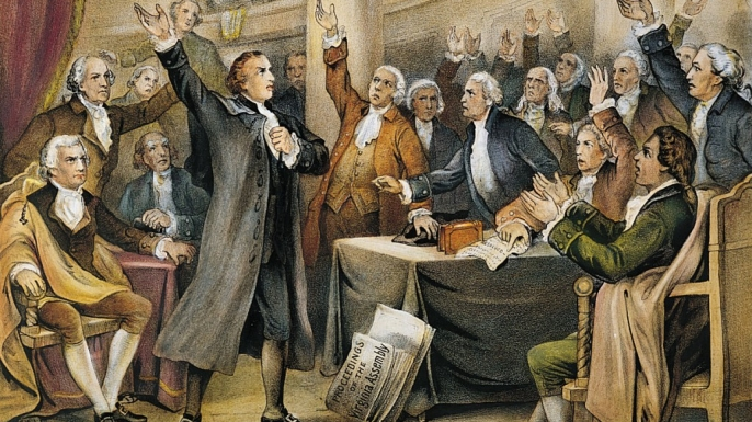Patrick Henry delivering his speech.
