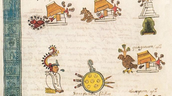 The 16th century Codex Mendoza, depicting the conquests of Itzcoatl