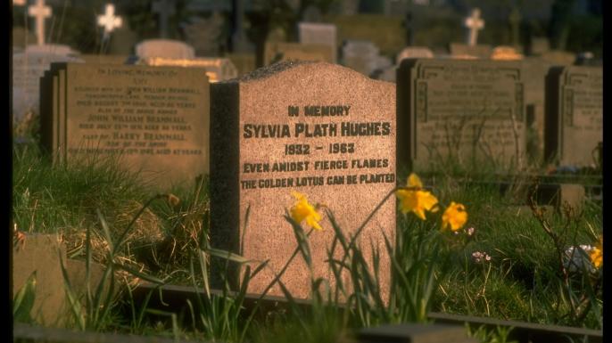 Grave of Sylvia Plath Hughes at Heptonstall Parish Church.