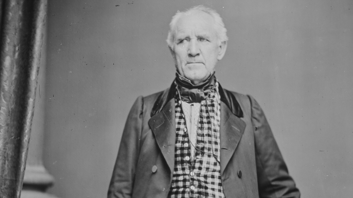 Sam Houston photographed by Mathew Brady.