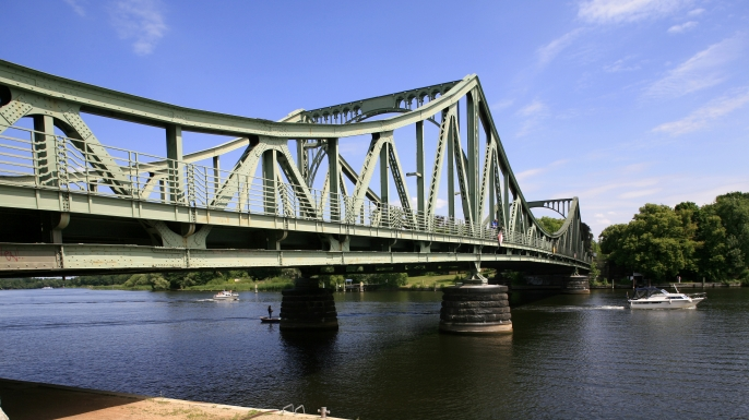 View of the Glienicke Brücke, which crosses the Havel River and links Berlin with Potsdam. (Credit: Baar/ullstein bild via Getty Images)