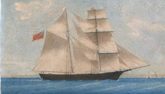 An 1861 painting of Mary Celeste as Amazon.