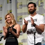 Travis Fimmel, Katheryn Winnick and Clive Standen attend the Vikings panel at San Diego Comic-Con 2015.  (Photo by Ethan Miller/Getty Images for A+E Networks)