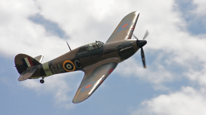 WWII-era Hawker Hurricane, the same model flown by RAF pilot Derek Allen