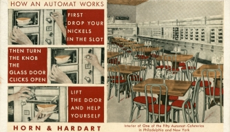A Horn & Hardart postcard with instructions on using an Automat.