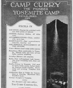 "A 1921 advertisement for Camp Curry in Yosemite National Park that shows the ""Firefall."""