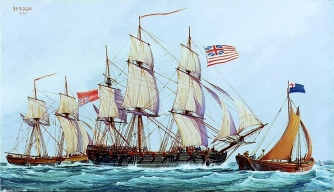 Continental ship Columbus with captured British ship Long Lifford. (Credit: Naval Historical Center)