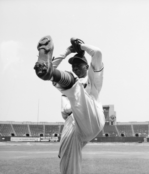 Pitcher Satchel Paige in his wind up. (Credit: Photo by George Silk/Getty Images)