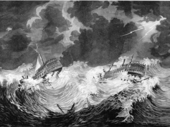 HMS Hector and HMS Bristol in the hurricane of 1780.