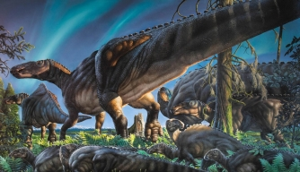This original painting by James Havens depicts Ugrunaaluk kuukpikensis, the new species of duck-billed dinosaur that lived in ancient Alaska during the Cretaceous Period. (Credit: James Havens)
