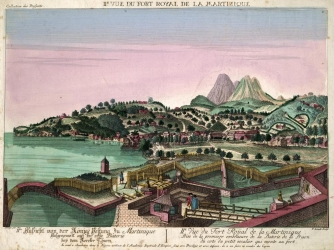 Drawing of Port Royal, Martinique from the 1750s.