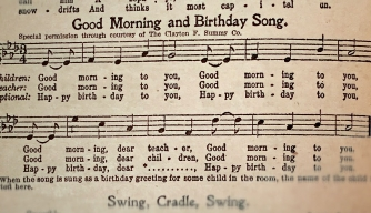 "A 1927 copy of ""The Everyday Song Book,"" featuring lyrics to ""Happy Birthday."""