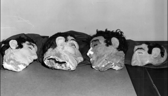From left to right are the dummy heads used by Clarence Anglin, John Anglin, and Frank Morris to conceal their absence from their beds. The head on the right was found under the bed of Allen West. (Credit: FBI)