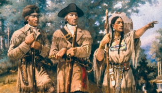 """Lewis & Clark at Three Forks,"" mural in lobby of Montana House of Representatives. (Credit: Edgar Samuel Paxson)"