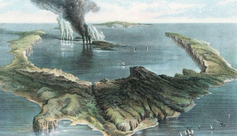 Island of Thera (Santorin) in an eruption that may have created tidal wave destroying Knossus and wiping out the Minoans. (Credit: Universal History Archive/Getty Images)