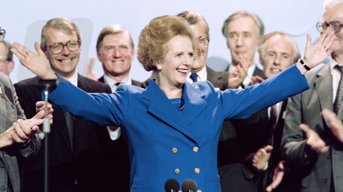 British Prime Minister Margaret Thatcher on October 13, 1989. (Credit: Johnny Eggitt/Getty Images)