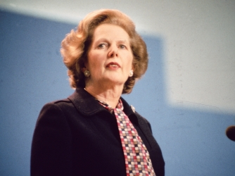 Margaret Thatcher addressing the Tory Party Conference in Brighton, following the bombing of The Grand Hotel.  (Credit: Hulton Archive/Getty Images)