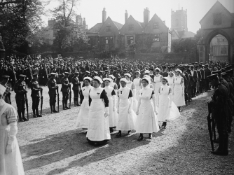 Nurses marching in Cavell's funeral procession in Britain.  (Credit: A. R. Coster/Topical Press Agency/Getty Images)