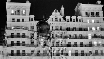 The Grand Hotel in Brighton, after a bomb attack by the IRA, October 12, 1984. (Credit: John Downing/Getty Images)