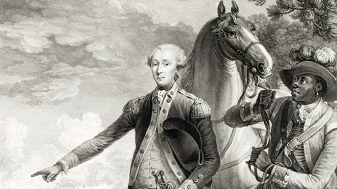 James Armistead Lafayette (R) at Yorktown, standing with Marquis de La Fayette (L).