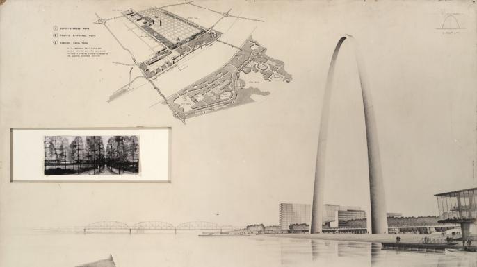 One of the drawings for Eero Saarinen's winning design. (Credit: