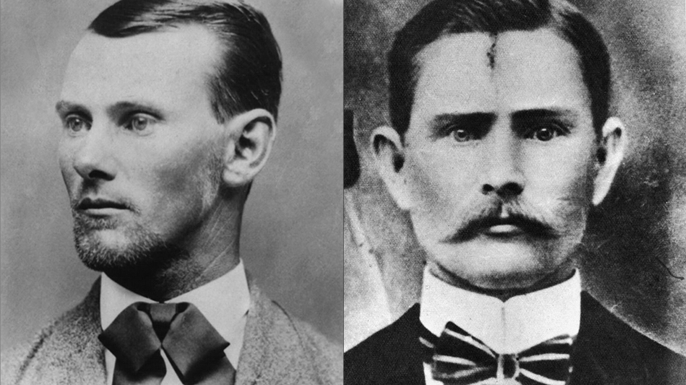 Two portraits of outlaw Jesse James. On the left is a more commonly accepted portrait of Jesse James. The authenticity of the portrait on the right is disputed by the James Preservation Trust. (Credit: Kean Collection/Getty Images and Public Domain)