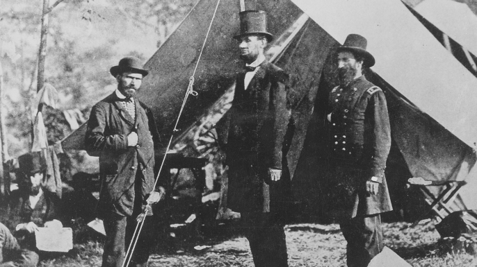 Allan Pinkerton (left) with President Abraham Lincoln and Union Major General John McClernand.