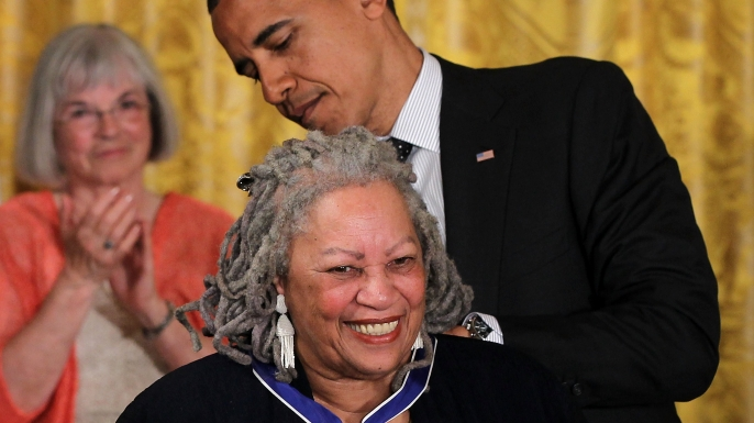 Novelist Toni Morrison is presented with a Presidential Medal of Freedom by U.S. President Barack Obama, May 29, 2012. (Credit: Alex Wong/Getty Images)