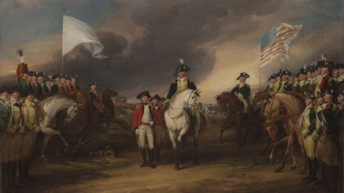 The Surrender of Lord Cornwallis at Yorktown. (Credit: John Trumbul/Getty Images)