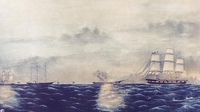 Shenandoah destroying whale ships.