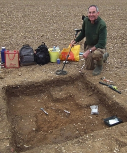 James Mather, finder of the Watlington Hoard, at the find spot of discovery. (Credit: Portable Antiquities Scheme)