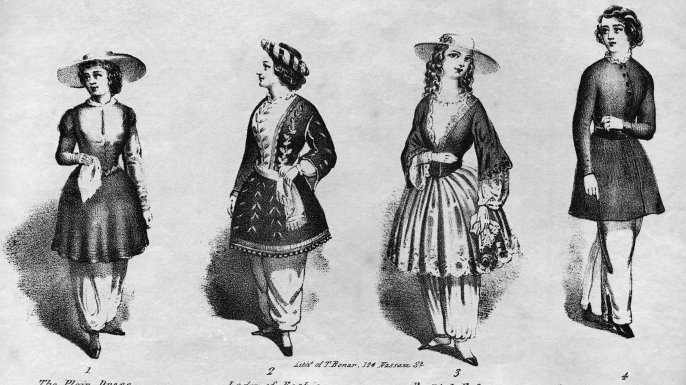 An engraving of four examples of women wearing bloomers as advocated by women's rights and temperance advocate Amelia Bloomer. (Credit: Kean Collection/Getty Images)