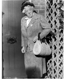 Actress Margaret Rutherford as Miss Jane Marple on the set of the movie