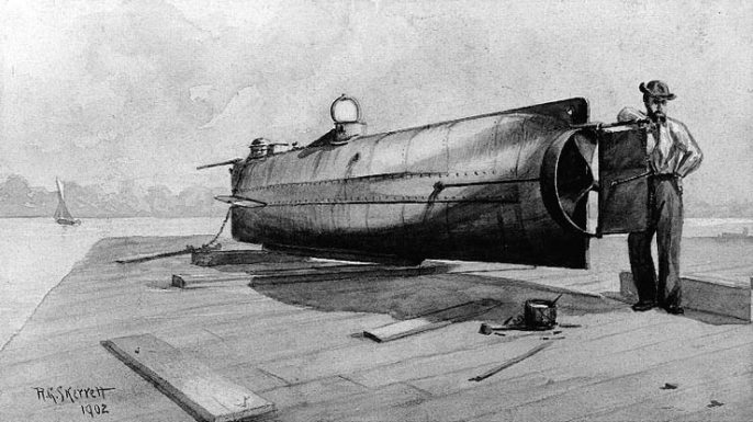 Drawing of Hunley on a pier. (Credit: Public Domain)