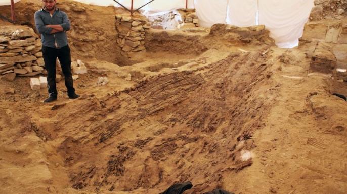 The boat during excavation. (Credit: Archives of the Czech Institute of Egyptology, V. Dulíková)