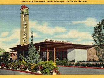 Vintage linen postcard showing the entrance to the gaming room and patio of the Flamingo Hotel. (Credit: Curt Teich Archives/Getty Images)