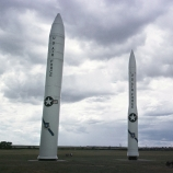 Peacekeeper missile, left, and two versions of the Minuteman missile sit at the entrance of Warren Air Force base near Cheyenne, WY. (Credit: Michael Smith/Getty Images)